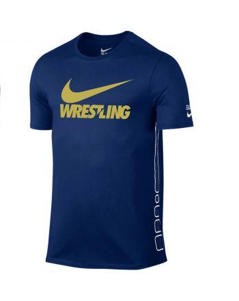 Męska koszulka Nike Elite Wrestling Gold Swoosh Nike - 2 buty zapaśnicze ubrania kostiumy